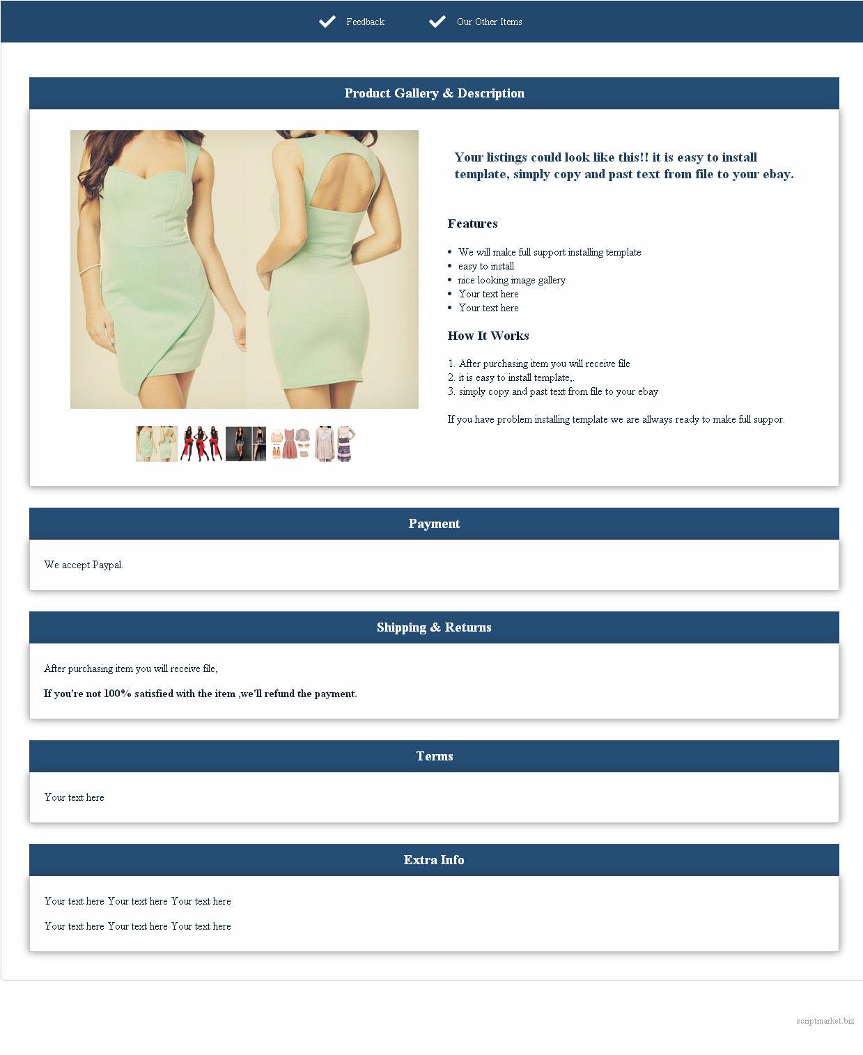 Ebay Script Market - Ebay item template